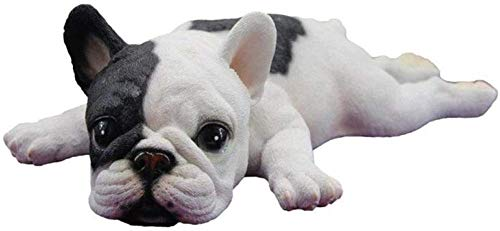 XCZZYC Family Art Sculpture Figurines Decoration Cute Lying Down Sleeping French Bulldog Puppy Lifelike Figurine Statue Abstract Sculpture