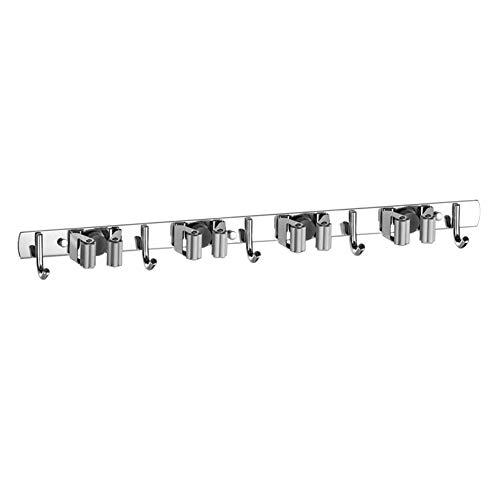 ZDYS - Supporto da parete per scope e mocio, in acciaio inox, resistente, con 4 ripiani, 5 ganci, per casa, bagno, lavanderia, cucina, giardino, garage