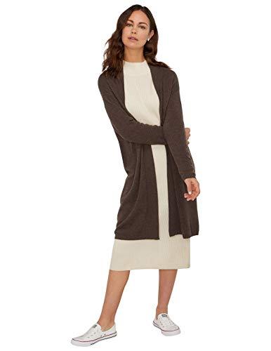 State Cashmere Damen Lang Offener Vorderseite Strickjacke 100% Reiner Kaschmir Übergroße Langarm Pullover Mantel (Medium, Kaffee)