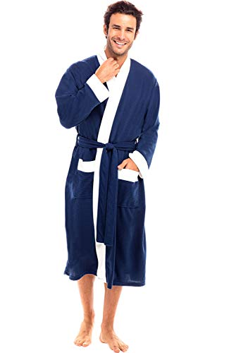 Alexander Del Rossa Men's Waffle Knit Robe, 3/4 Length Bathrobe, Small Medium Navy Blue with White Contrast (A0430NBLMD)