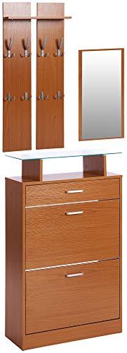 ts-ideen 3er Set Garderobe Spiegel Schuhkipper in Buchenoptik Braun Schuhschrank mit Schublade und Ablagefläche aus Glas