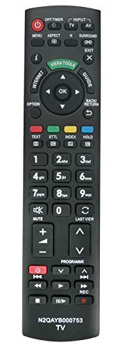 ALLIMITY N2QAYB000753 sub N2QAYB000673 Fernbedienung Ersetzt für Panasonic Viera Internet TV TX-L32D25BA TX-L32D25E TX-L32D28EP TX-L32D28ES TX-L32E30E TX-L32E31B TX-L32E5B TX-L32E5E TX-L32E5Y