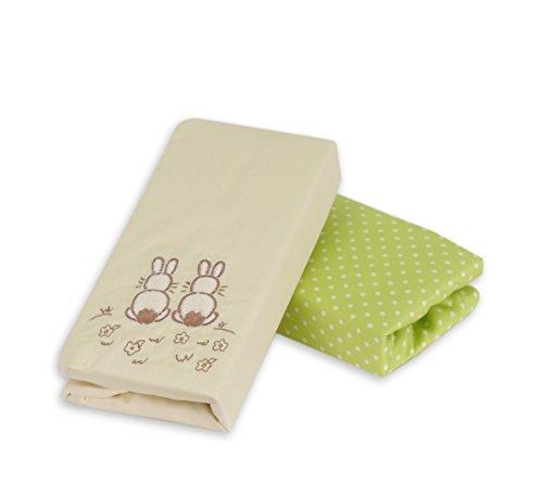 Tots by Smart Rike 140–103 Drap Housse, Lot de 2, Joy Rabbit, 100% satin coton, 140 x 70 cm, crème et vert-Imprimé