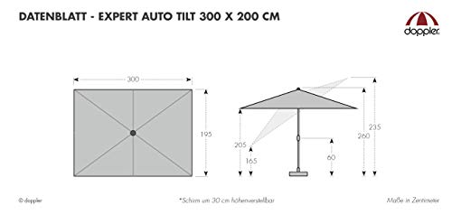 Doppler EXPERT Auto Tilt – Rechteckiger Sonnenschirm für Balkon oder Terrasse – Knickbar – ca. 300x200 cm – Anthrazit