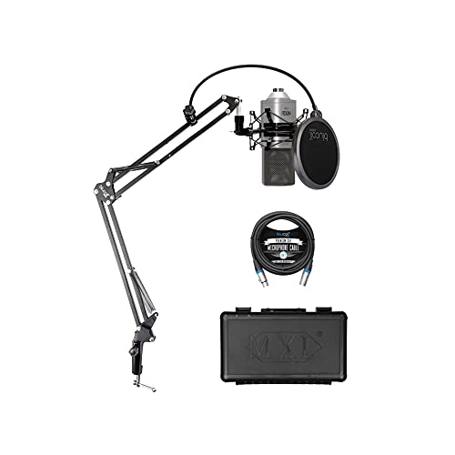MXL 770 Cardioid Condenser Microphone for Piano, Guitar, String Instruments, and Vocal Recording (Silver) Bundle with Blucoil Boom Arm Plus Pop Filter, and 10-FT Balanced XLR Cable