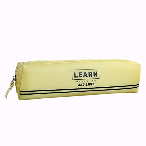 Drawihi Pencil Case Solid Color Portable Silicone Zipper for Students to Organize Pencils Rulers School Supplies Stationery Storage Bags Yellow