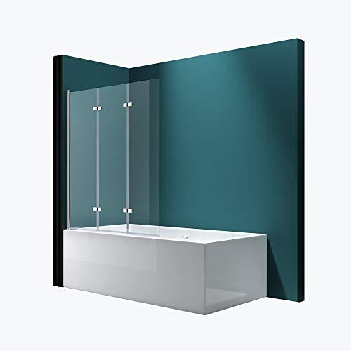 Mai & Mai Badewannen-Aufsatz 130x140cm Duschwand Badewanne Links Badewannenfaltwand Klarglas 6mm ESG-Glas Nano-Versiegelung C116L