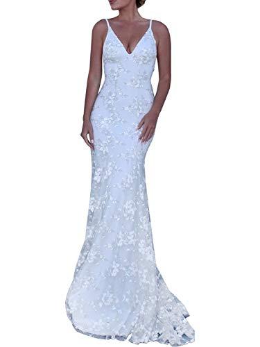 Clothink White V-Neck Open Back Lace Maxi Dress Wedding Party L