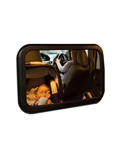 Toddly Baby Backseat Mirror for Car - View Infant in Rear Facing Car Seat - 100% Lifetime Satisfaction Guarantee - Best Newborn Easy to Assemble Safety with Secure Headrest Double-Strap