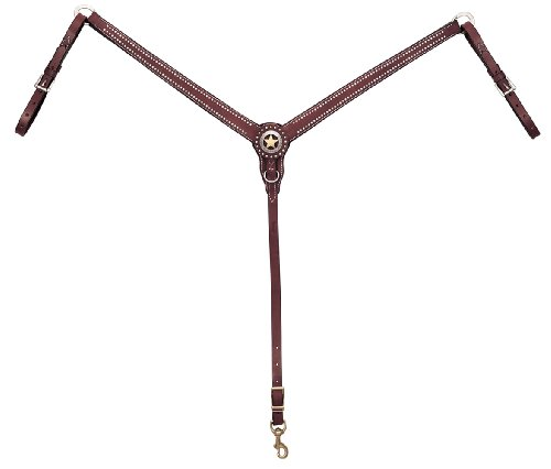 Weaver Leather Texas Star Tapered Ring-in-Center Breast Collar, Chestnut
