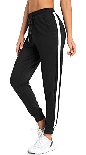 Pantalones de chándal para mujer, pantalones de deporte largos para el tiempo libre, pantalones de entrenamiento de algodón, pantalones de yoga con rayas Negro XL