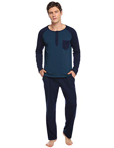 Aibrou Herren Baumwolle Langarm Winter Pyjama Set, Patchwork Zweiteiliger Schlafanzug Blau L