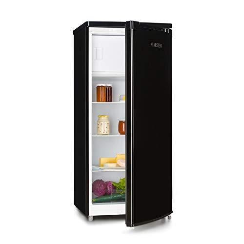 Klarstein Samara L Nevera - Nevera con 165 litros, Congelador de 16 litros, Eficiencia energética de tipo A+, Cajón para verdura, 3 baldas de vidrio, 5 compartimentos en la puerta, Negro