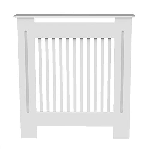 Ukmaster Radiator Cover Modern Slatted Grill Slats White Vertical Painted MDF Cabinet for Home Living Room Hallway,Small
