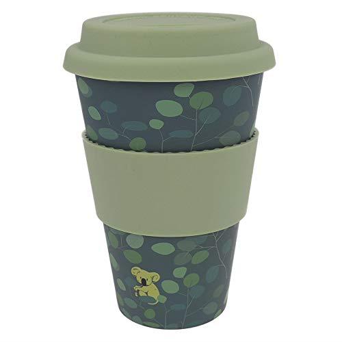ebos Coffee-to-Go Becher aus Bambus – melaminfrei | Wiederverwendbarer Trink-Becher aus natürlichen Materialien | spülmaschinen- und mikrowellengeeignet | Lovely Koala