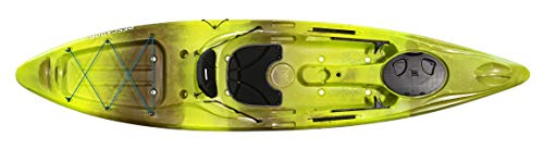 Perception Pescador 12 | Sit on Top Fishing Kayak with Front Storage Well | Large Rear Storage and Dual Rod Holders | 12' | Grasshopper