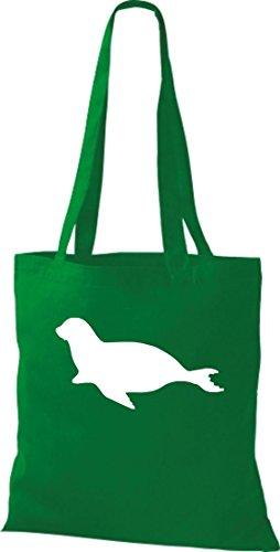 Unbekannt Stoffbeutel; Tiermotiv Robbe, Seehund, Seelöwe; Farbe Kelly