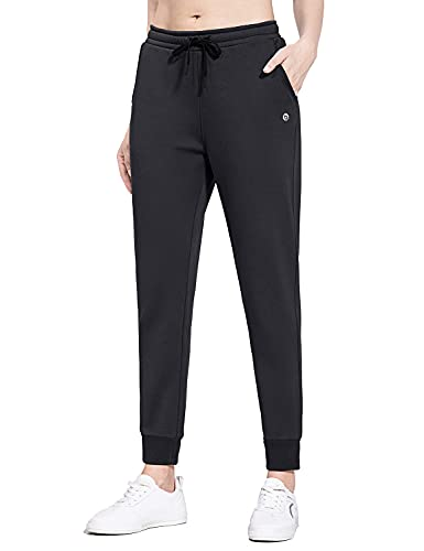 BALEAF Women's Warm Fleece Lined Joggers Cotton Sweatpants Winter Lounge Walking Active Pants with Pockets Black L