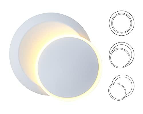 LED Lámpara De Pared 5W Aplique De Pared DIY Luz Puede Girar Giratorio De 350 °, 3000K Blanco Cálido, Moderna Redonda...