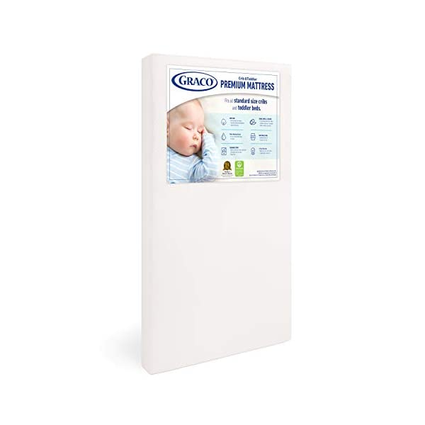Graco Premium Foam Crib and Toddler Mattress, White – Ships Compressed in Lightweight...