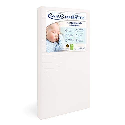 Graco Premium Foam Crib and Toddler Mattress, White –...