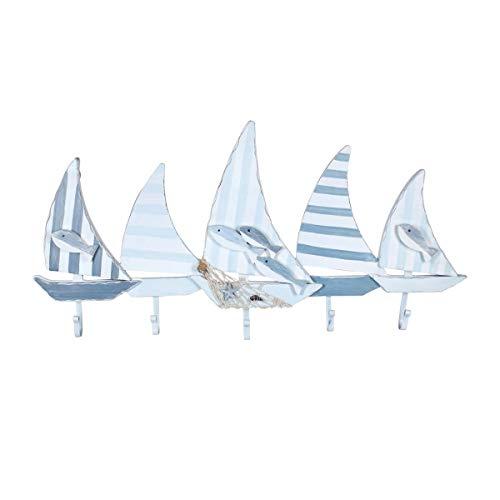 Percha de Pared Decorativa Marinera de Madera 5 Ganchos Barcos de Vela. Percheros. Adornos y Muebles Auxiliares. Decoración Hogar. Regalos Originales. 73,50 x 4,50 x 37 cm