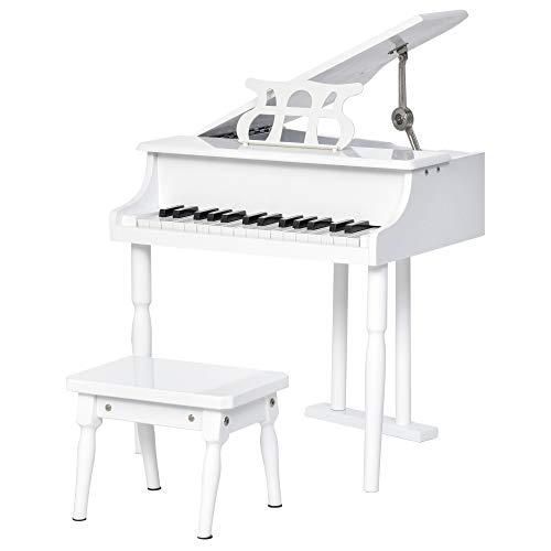 HOMCOM Piano de Cola Electrónico 30 Teclas con Atril Taburete Piano para Niños de Contrachapado Cubierta Pintura 52x50x49 cm