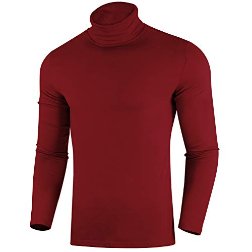 ZIOLOMA Mens Casual Slim Fit Pullover Sweaters Long Sleeve Knitted Turtleneck Wine Red