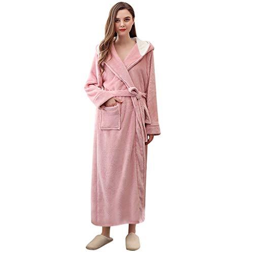 Dasongff Badjas voor dames en heren, met capuchon, pluizig fleece, huismantel paar, lang, pluizig, ochtendjas, pluche, warme zachte hooded saunamantel Medium roze