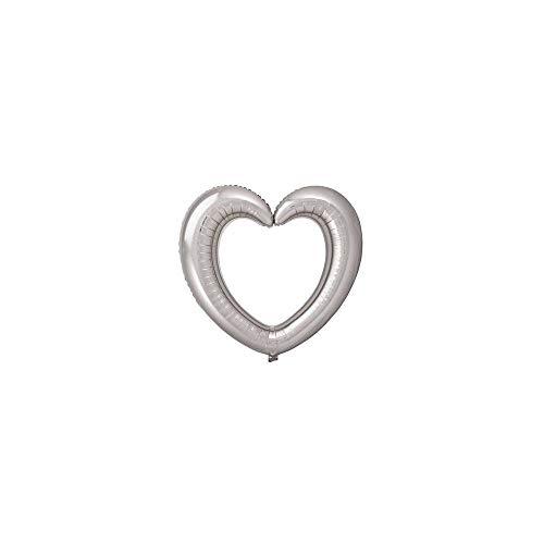 Folat- Cornice per Foto a Forma di Cuore con Palloncini in Foil Argento-80x70cm, Color Argento, Taglia Unica, 61797