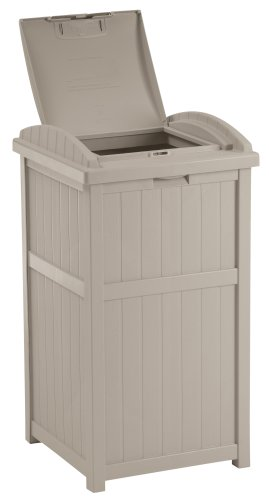 Suncast 33 Gallon Hideaway Trash Can for Patio - Resin Outdoor Trash with Lid - Use in Backyard, Deck, or Patio - Taupe