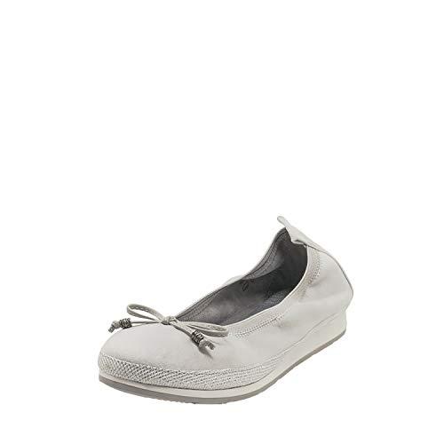 Fitters Footwear That Fits Damen Ballerina Celine Microfibre Komfort Ballerina mit Schleife Stretch Bund Übergröße (42 EU, grau)