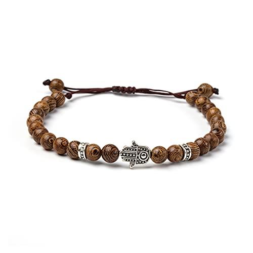 Lucky Buddhist Tibetan Lucky Bracelet - Para hombres y mujeres - Pulseras trenzadas de la amistad - Pulsera Mantra de madera Om Mani Padme Hum (Madera Wenge Ojo de Fátima Mano)