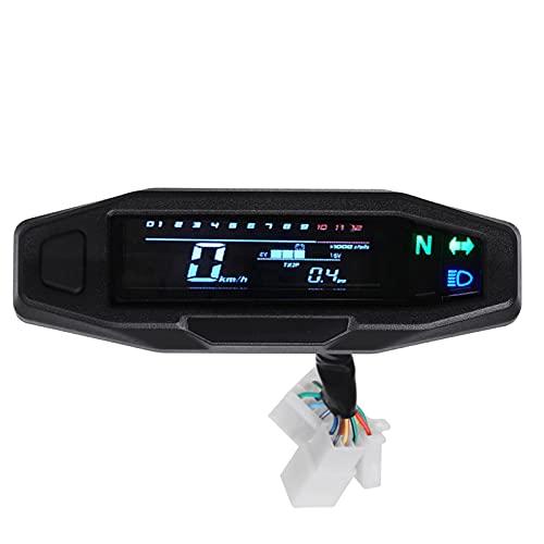 MEQNOIG Medidor de Velocidad Mini RPM Universal Medidor de Motocicleta Velocímetro Odómetro Digital Instrumento de carburador de inyección eléctrica para Ruso KR200(Color:SET1)