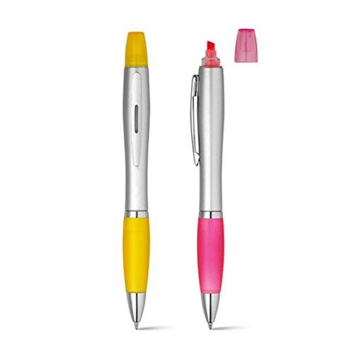 2er Set Kugelschreiber mit Textmarker - pink und gelb