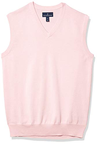 Amazon Brand - Buttoned Down Men's 100% Supima Cotton Sweater Vest, Light Pink, Large