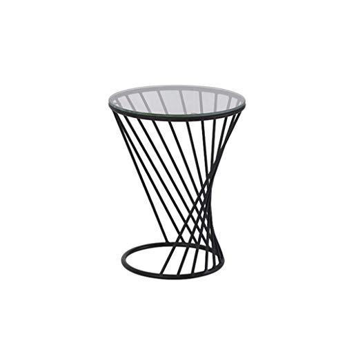 table basse table basse Nordic Iron art/verre trempé Simplicité moderne Salon de loisirs balcon Côté (Couleur : A, taille : 38cm*48cm)