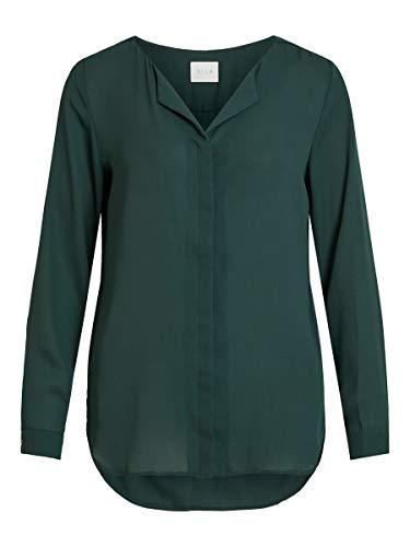 Vila Clothes Vilucy L/s Shirt-Noos Blusa, Verde (Pine Grove