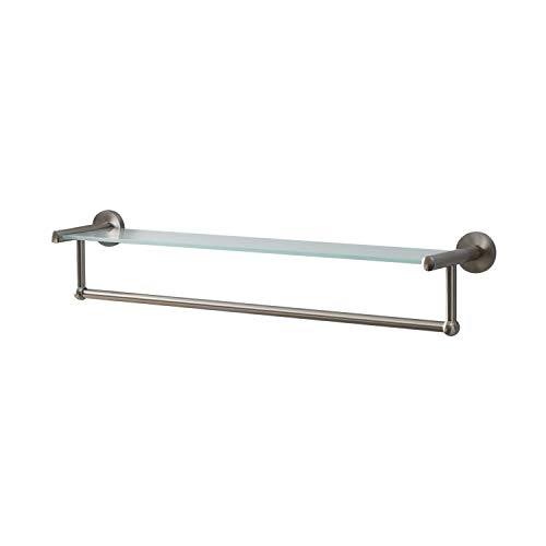Organize It All 16905W-1 Neu Home Glass Shelf and Towel Bar in Satin Nickel,...