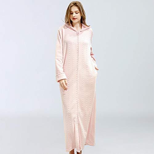 Pijamas Mujer Camisón Camisón con Capucha para Mujer Y Hombre, Albornoz De Franela, Cremallera, Ropa De Casa De Una Pieza, Pijama Cálido, Ropa De Dormir, Bata Otoño Invierno L Rosa