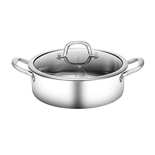 "Shabu Shabu Hot Pot, acciaio inox 304 Hot piatto Pentole Set Ramen Fornello, Hot Pot Soup base in acciaio inox Pot Set, 12\"" Hot Pot con divisori,28cm"