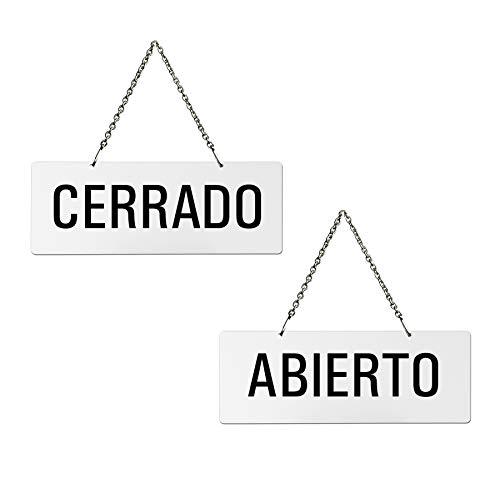 Cartel Doble Cara para Colgar | Melamina Blanco | Abierto - Cerrado | 175x65 mm | auténtico Ofform | No.31209-W