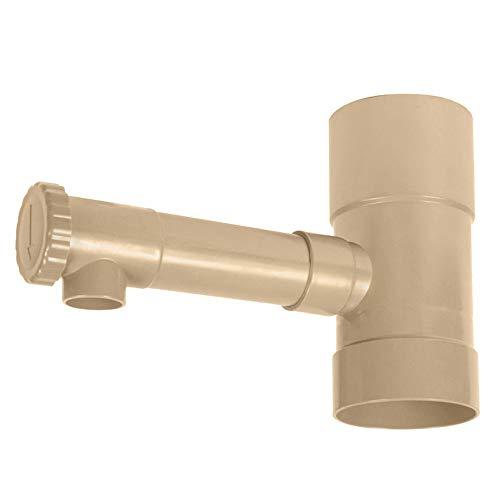 Jardibric - Raccord PVC - récupérateur d'eau pour Descente de gouttière - Récupérateur eaux de Pluie à Fixer sur gouttière - Sable, diamètre 80 mm
