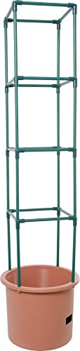 Hydrofarm GCTB2 Heavy Duty Tomato Barrel with 4' Tower, Green 3 Trellis expands to 4' Tall Planter holds approximately 14 L Water reservoir holds approximately 1. 3 gal (5 L)