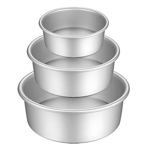 Gesentur Kuchenform Rund, Backformen Set aus Eloxiertem Aluminium Antihaftbeschichtung, mit Abnehmbar Auslaufsicher Boden, 3 Größen Enthält 13.7cm/19.7cm/25cm