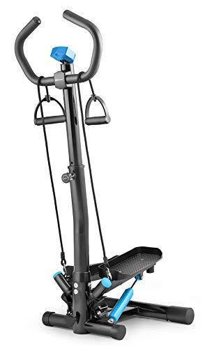 Hop-Sport Swing Side Stepper HS-055S mit verstellbarem Haltegriff Trainingsbändern Computer verstellbare Tritthöhe (Schwarz-blau)
