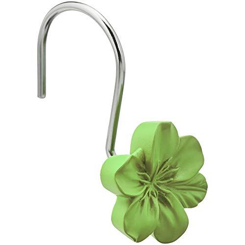 Amazon Basics - Ganchos para cortina de ducha, flor, verde
