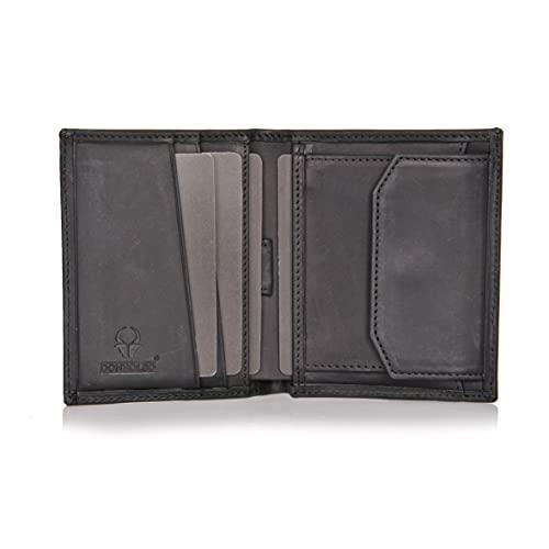 DONBOLSO® Rom 2.0 I Mini Geldbörse mit RFID-Schutz I Slim Wallet mit Münzfach I echtes Leder I Geldbeutel Herren (Schwarz Vintage, mit Münzfach)