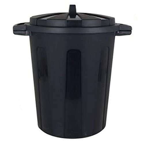 Acan Cubo de Basura de plástico Negro con Asas 100 litros, 68,2 x 63,8 x 53,4 cm, contenedor de residuos, Papelera con Tapa, Recipiente Reciclaje, Cierre Seguro, Industrial, hogar