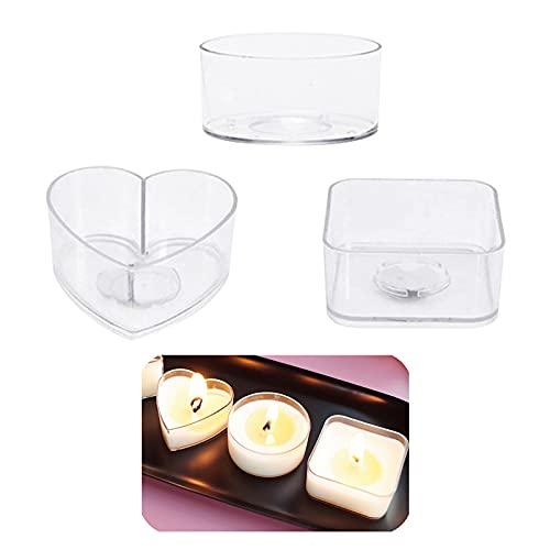 60 pezzi di plastica trasparente portacandele a forma di cuore rotondo quadrato candela candela candela candela contenitori vuoti stampo per matrimoni spa meditazione e fai da te